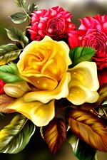 Preview iPhone wallpaper Golden and red rose flowers, art picture