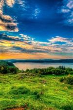 Grass, clouds, river, nature landscape