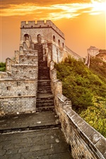 Preview iPhone wallpaper Great Wall, Beijing, China, sunset