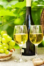 Preview iPhone wallpaper Green grapes, wine, bottle
