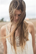 Preview iPhone wallpaper Hair messy girl, field, wind