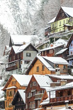 Preview iPhone wallpaper Hallstatt in winter, houses, snow, Austria