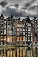 iPhone fondos de pantalla Holanda, río, edificios, nubes, estilo HDR