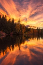 Preview iPhone wallpaper House, trees, lake, water reflection, clouds, sunset