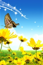 House, yellow flowers, butterfly, ladybug, clouds, blue sky