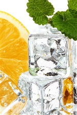 Preview iPhone wallpaper Ice cubes, orange, mint