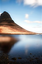 Preview iPhone wallpaper Iceland, Kirkjufell mountain, lake, shadow