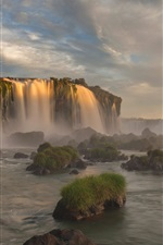 Preview iPhone wallpaper Iguazu National Park, Brazil, Parana, waterfall, dusk