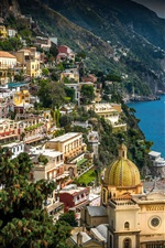 Preview iPhone wallpaper Italy, Campania, Amalfi Coast, Positano, city, sea