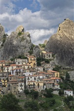 Preview iPhone wallpaper Italy, Castelmezzano, mountains, rocks, houses