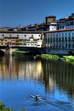 Preview iPhone wallpaper Italy, Florence, river, bridge, houses, city