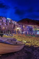 Preview iPhone wallpaper Italy, Sicily, beach, boats, houses, lights, night