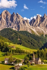 Preview iPhone wallpaper Italy, South Tyrol, Dolomites, village, grass, mountains, trees