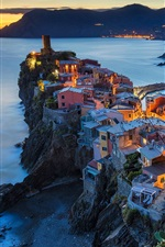 Italy, Vernazza, Cinque Terre, Liguria, houses, lights, sea, night
