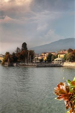 Preview iPhone wallpaper Italy, lake, trees, houses, city, clouds