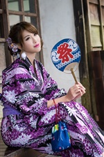 Preview iPhone wallpaper Japanese girl, purple kimono, sit down