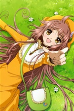 Preview iPhone wallpaper Kobato, happy anime girl, meadow, bag, toy