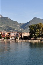 Preview iPhone wallpaper Lake Garda, Italy, mountains, trees, city