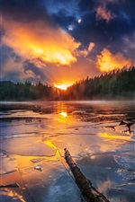 Lake, clouds, sunset, trees, ice, dusk