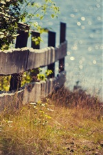 Preview iPhone wallpaper Lake, fence, grass