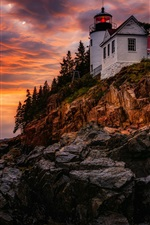 Preview iPhone wallpaper Lighthouse, evening, sunset, sea, red sky, clouds, glow, USA