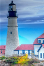 Preview iPhone wallpaper Lighthouse, houses, blue sky, HDR style