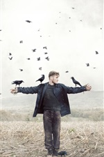 Preview iPhone wallpaper Man and crow in fields