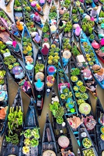 Preview iPhone wallpaper Many boats, river, water, women, fruit market