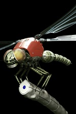 Preview iPhone wallpaper Metal robot dragonfly, black background, creative design