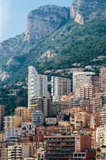 Preview iPhone wallpaper Monaco, Monte Carlo, mountains, rocks, city, houses