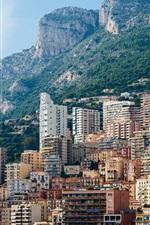iPhone fondos de pantalla Mónaco, Monte Carlo, montañas, rocas, ciudad, casas