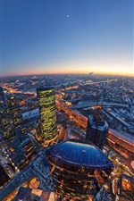 Moscow, city, skyscrapers, evening, top view, lights