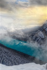 Preview iPhone wallpaper Mountains, snow, trees, fog, river, winter