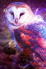 Preview iPhone wallpaper Multicolored owl, smoke, creative design