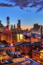 Preview iPhone wallpaper New York, Brooklyn Bridge, Manhattan, One World Trade Center, city, night, lights