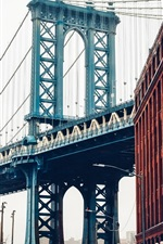 Preview iPhone wallpaper New York, USA, Brooklyn bridge, Manhattan, street, buildings