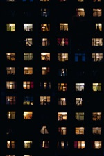 Preview iPhone wallpaper Night, houses, windows, light