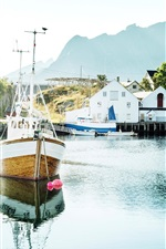 Preview iPhone wallpaper Norway, Lofoten Islands, yacht, bay, boats, houses
