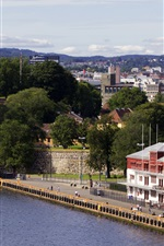 Norway, Oslo, buildings, trees, city, river