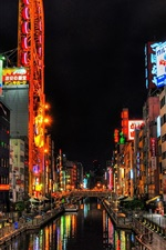 Osaka, street, city buildings, river, night, Japan