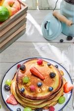 Preview iPhone wallpaper Pancakes, apples, oranges, grapes, bananas, lemon