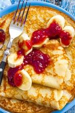 Preview iPhone wallpaper Pancakes, bananas, jam, breakfast