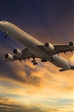 Preview iPhone wallpaper Passenger plane flight, sky, clouds, bottom view