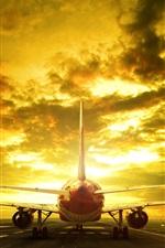 Passenger plane, runway, rear view, evening, glow, clouds