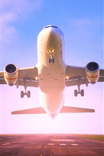 Preview iPhone wallpaper Passenger plane take off, runway