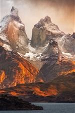 Patagonia nature landscape, mountains, lake, clouds