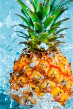 Preview iPhone wallpaper Pineapple falling in water, splash