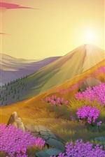미리보기 iPhone 배경 화면 핑크 꽃, 산, 태양, 자연 풍경, 벡터 디자인