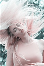Pink hair girl, hairstyle, wind