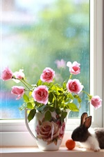 Preview iPhone wallpaper Pink rose, rabbit, window